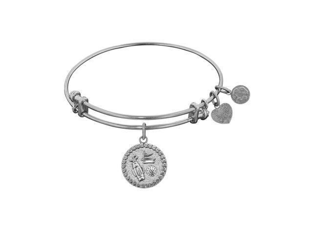 white stipple finish brass golf angelica bangle bracelet