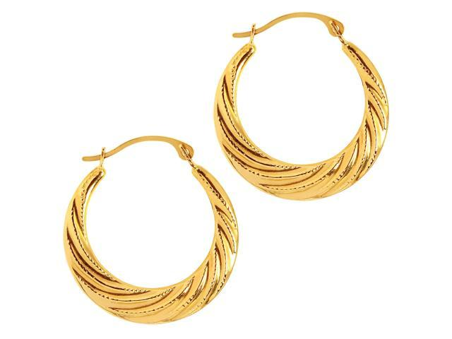 20mm X 20mm 14k Yellow Gold Curled Hoop Earrings,