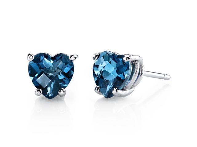 Blue Gemstone Earrings Couple Gifts Dangling Earring Swiss Blue TOPAZ HEART SHAPED Earrings 92.5 Sterling Silver Heart Shape Jewelry