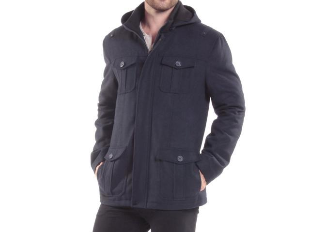 6dcecbe79e Alpine Swiss Noah Mens Wool Coat Parka with Removable Hood Jacket Cargo  Pockets