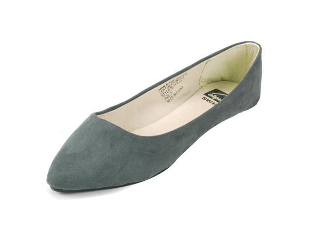 Alpine Swiss Lilly Womens Ballet Flats Pointed Toe Suede Lined Microsuede Shoes
