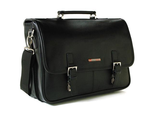 47d5bdbb9 Alpine Swiss AS-9525 Leather Dressy Messenger Bag Flapover Buckle Portfolio