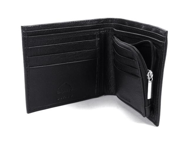 7318f3fef7b87 Alpine Swiss Mens Leather Wallet Zipper Coin Pocket 2 Billfold Multi Card  Bifold