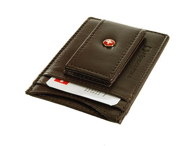 8de0a25f84b0 AlpineSwiss Mens Leather Money Clip Magnet Front Pocket Wallet Slim ID Card  Case