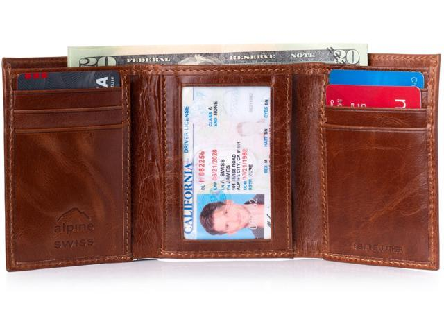 df3390d3821 Alpine Swiss RFID Blocking Mens Trifold Wallet Leather ID Bill Holder Card  Case