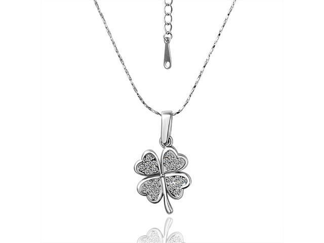 a343e6dcf 18K White Gold Plated Four Leaf Clover Lucky Charm with Rhinestone Crystals Pendant  Necklace