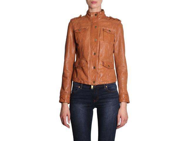 ce18bc69b4f1 MICHAEL BY MICHAEL KORS WOMEN'S MH82HYDACH286 BROWN LEATHER OUTERWEAR JACKET