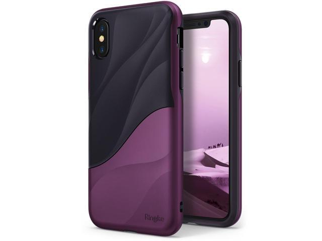 size 40 f44d2 a8194 Apple iPhone X Case, iPhone XS Case, Ringke [WAVE] Dual Layer Heavy Duty  Shockproof PC TPU Protective Cover for iPhone 10 - Metallic Purple - ...