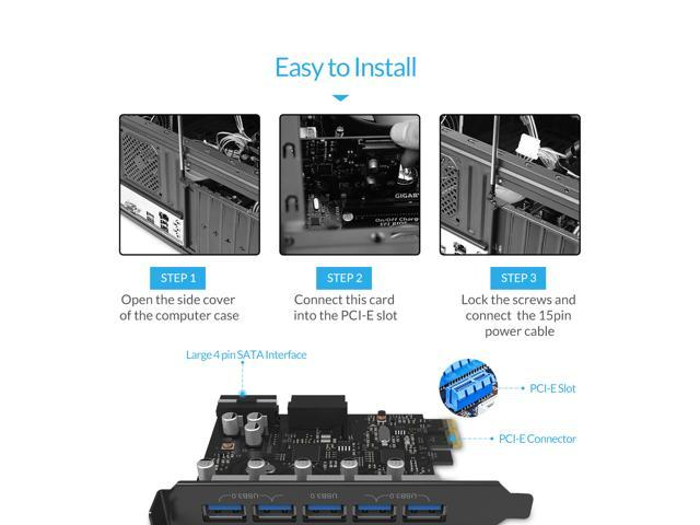- Black USB 3.0 20-PIN Connector Includes with 4 Pin to 15 Pin Cable ORICO PCIE to USB 3.0 5-Port PCI Express Expansion Card