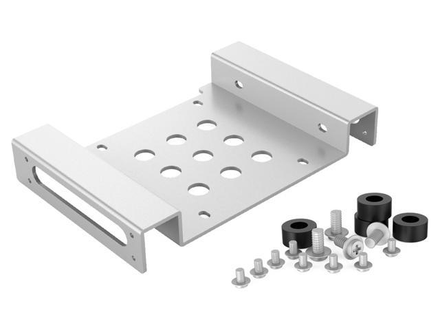 ORICO Aluminum 2.5 inch 5.25 to 3.5 Mounting Bracket for 2.5 inch SATA & IDE HDD SSD Hard Drive Bay Converter Mounting Bracket Adapter Kit with Screws and SHOCK Absorption Rubber Washer -Silver