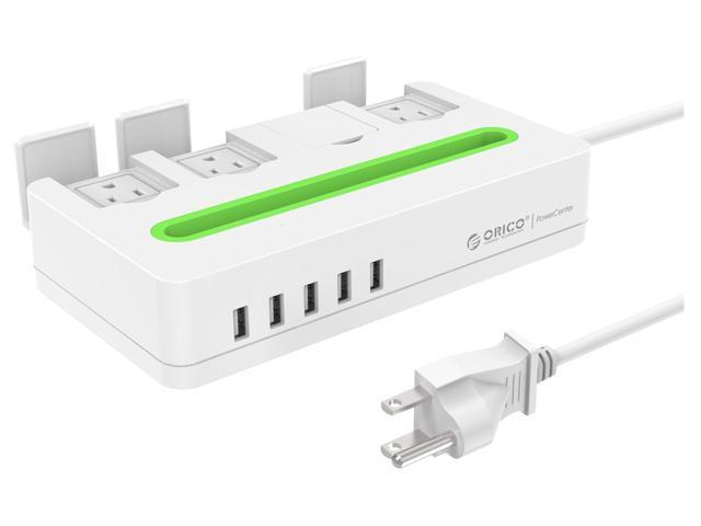 ORICO 4 Outlet Power Strip with Surge Protector, 5 USB Intelligence Charging Ports (5V2.4A) Built-in 5 Ft. Cord, for iPhone 6 /6S, iPad, Samsung Galaxy, Laptops ,Desktops and More -White (DST-4A5U-US)