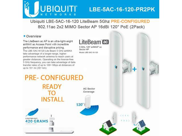 Ubiquiti Networks LBE-5AC-16-120 PRE-CONFIGURED 5GHz LiteBeam AC 11ac  Access Point 16dBi 120° PoE (2 PACK) **PRE-CONFIGURED / READY TO INSTALL**  -