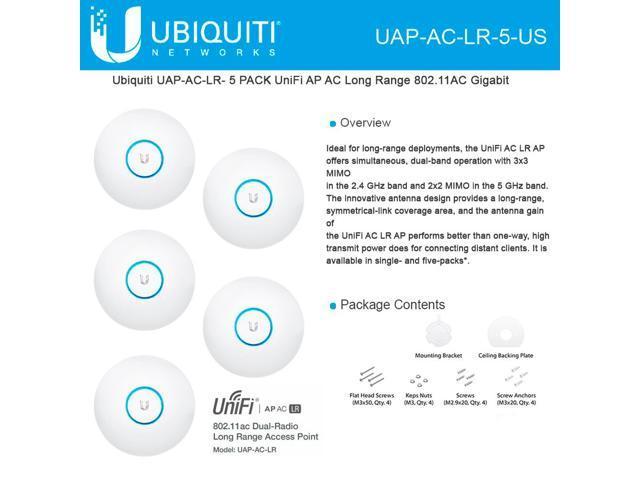 Ubiquiti Networks UAP-AC-LR-5-US 802 11ac Long Range Access Point - 5Pk  (PoE Not Included) - Newegg com