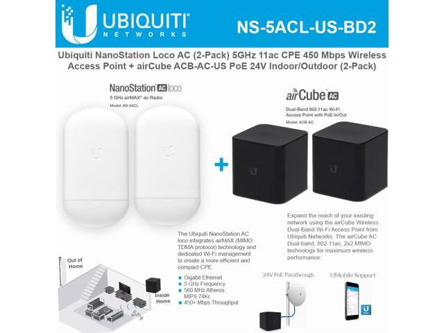 Ubiquiti Networks NanoStation AC loco NS-5ACL-US (2 Pack) 5GHz 802 11ac  airMAX CPE Radio 450Mbps Wireless Access Point WITH airCube ACB-AC-US (2  Pack)