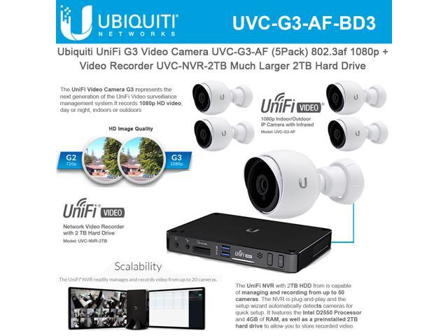 Ubiquiti Networks UniFi G3 Video Camera UVC-G3-AF (5 Pack) 802 3af 1080p  with Unifi G3 Network Video Recorder UVC-NVR-2TB Much Larger 2TB Hard Drive  -