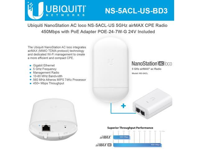Ubiquiti Networks NanoStation AC loco NS-5ACL-US Loco5ac 5GHz 802 11ac  airMAX CPE Radio 450Mbps Wireless Access Point with PoE POE-24-7W-G  Included -