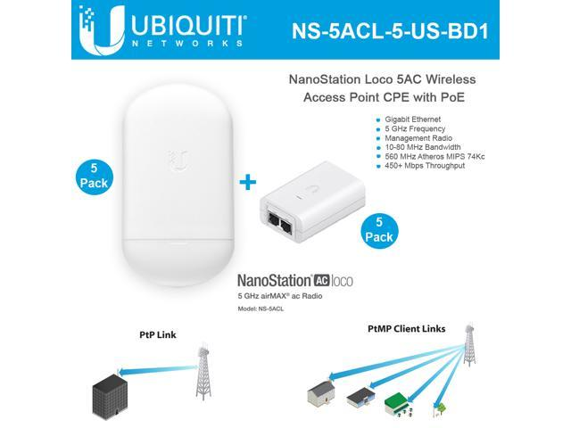 Ubiquiti Networks NanoStation Loco5AC NS-5ACL-5 5GHz 802 11ac airMAX CPE  Radio 450+ Mbps Wireless Access Point with PoE - Newegg com