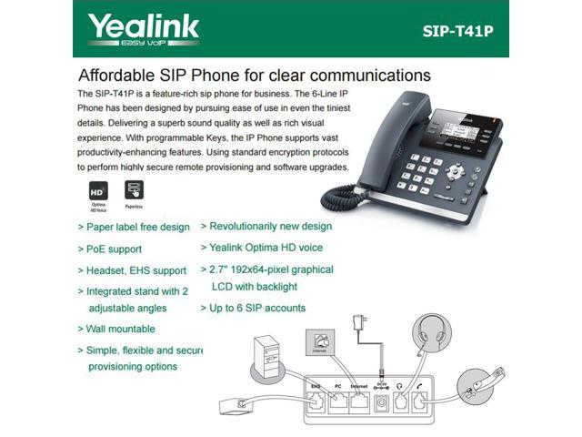 Yealink SIP-T41S 6-Pack IPPhone Gigabit Ethernet PoE Optima HD Voice