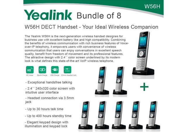 Yealink W56H Bundle of 8 IP DECT VoIP Phone Handset, HD Voice, Quick Charge  - Newegg com