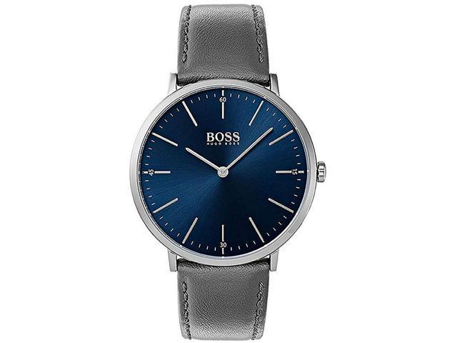 Men S Hugo Boss Horizon Grey Leather Strap 40mm Watch 1513539 Newegg Com