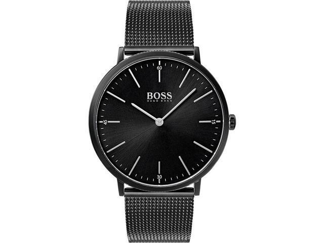 fba53d6020106 Men s Hugo Boss Horizon Black Steel Mesh Strap 40mm Watch 1513542