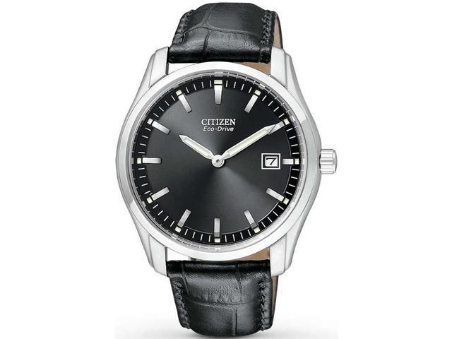 Citizen Eco Drive Black Dial Black Leather Mens Watch AU1040-08E