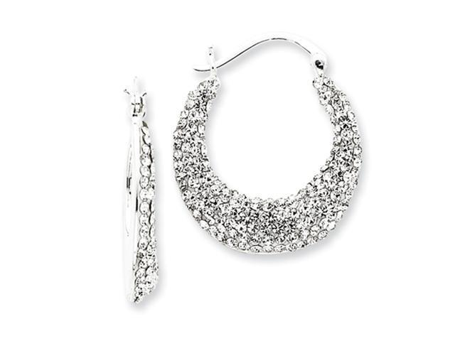 Sterling Silver W Swarovski Crystal Hoop Earrings Newegg