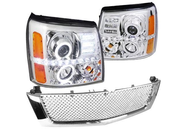 Cadillac Escalade Ext Esv Base, Chrome Halo Led Projector Headlights on escalade led headlights, escalade on 28s, escalade grill, escalade led lights for an inner,