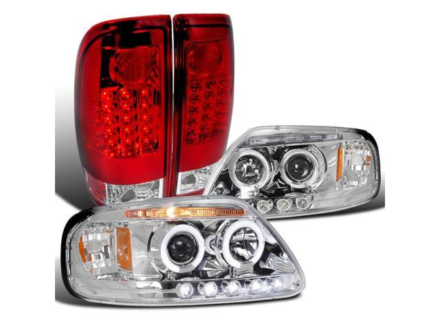 For 1997-2003 Ford F150 Glossy Black Halo Projector Headlights+LED Tail Lamps