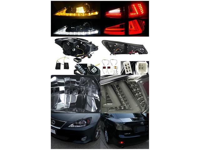 Spec-D Tuning For 2006-2008 Lexus Is250 Glossy Black Led Signal Projector  Headlights + Smoke Tail Lamp (Left+Right) 2006 2007 2008 - Newegg com