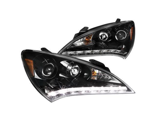 Glossy Black 2008-2015 Lancer Glossy Black R8 SMD LED Projector Headlights