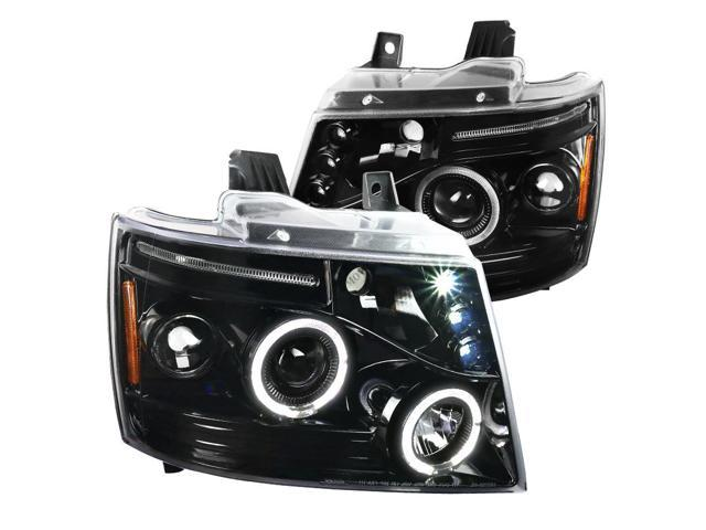 Jet Black 2007-2014 Tahoe Avalanche Suburban LED Dual Halo Projector Headlights