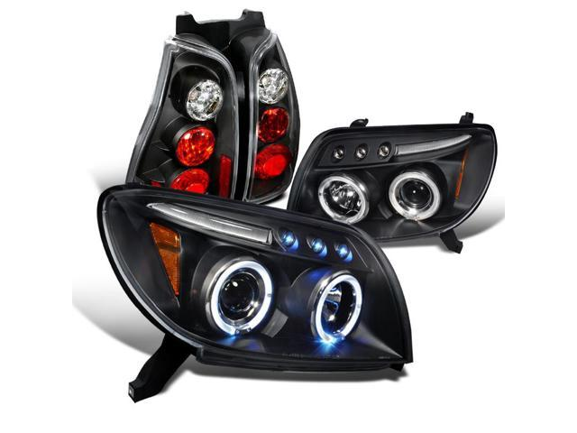 Spec-D Tuning For 2003-2005 Toyota 4Runner Dual Halo Led Jdm Black  Projector Headlights W/Altezza Tail Lights (Left + Right) 2003 2004 2005 -