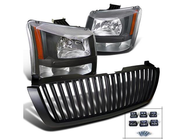 For 2003-2005 Chevy Silverado Black Headlights Signal Lamps+Black Hood Grille