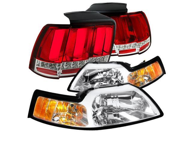 spec d tuning for 1999 2004 ford mustang cobra clear headlights sequential signal led tube tail lights red 1999 2000 2001 2002 2003 2004 newegg com sequential signal led tube tail lights