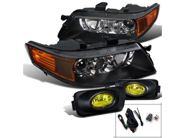 Spec-D Tuning For 2004-2005 Acura Tsx Black Diamond Headlights + Amber Fog  Bumper Lights (Left+Right) 2004 2005 - Newegg com