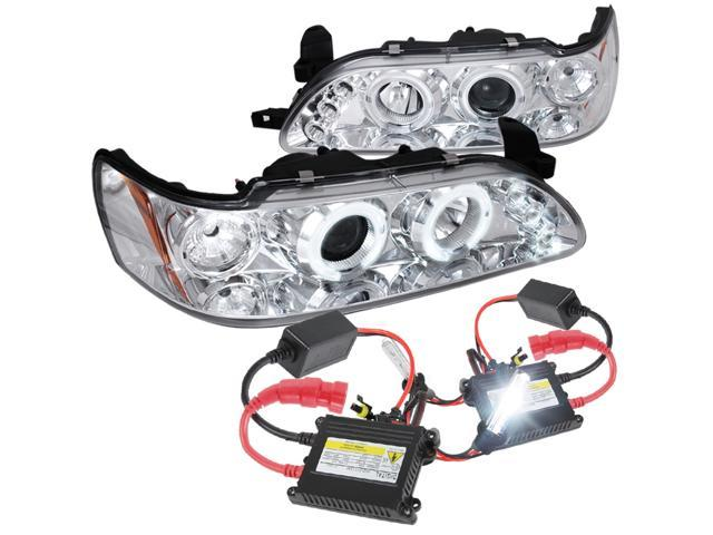 Spec-D Tuning 1993-1997 Toyota Corolla Halo Led Chrome Projector Headlights  + H1 6000K Xenon Hid Kit (Left + Right) 1993 1994 1995 1996 1997 -