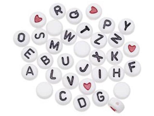 Alphabet Beads 7mm 250//Pkg-White Round W//Black Letters