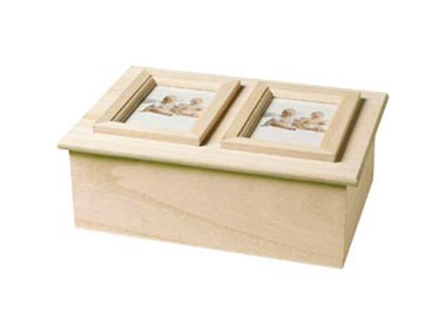 Wood Memory Box Double Picture Frame 9-1/4\