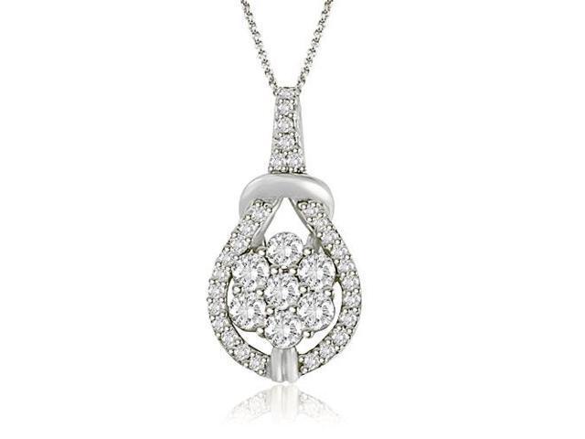 3f4b8c2a4d3c4 0.50 cttw. Flower Cluster Tear Drop Love Knot Diamond Pendant in Platinum  (VS2, G-H) - Newegg.com