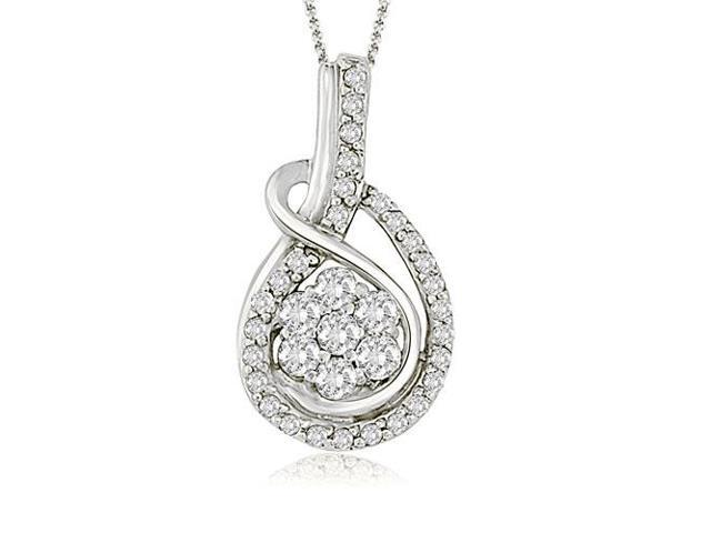 6835b054d52b8 0.50 cttw. Flower Cluster Round Cut Diamond Love Knot Pendant in Platinum  (SI2, H-I) - Newegg.com