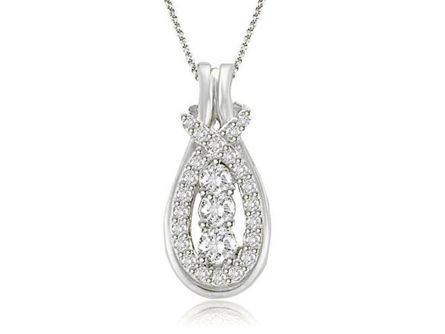 df516fd6398ec 0.25 cttw. Round Cut Diamond Love Knot Pendant in Platinum - Newegg.com