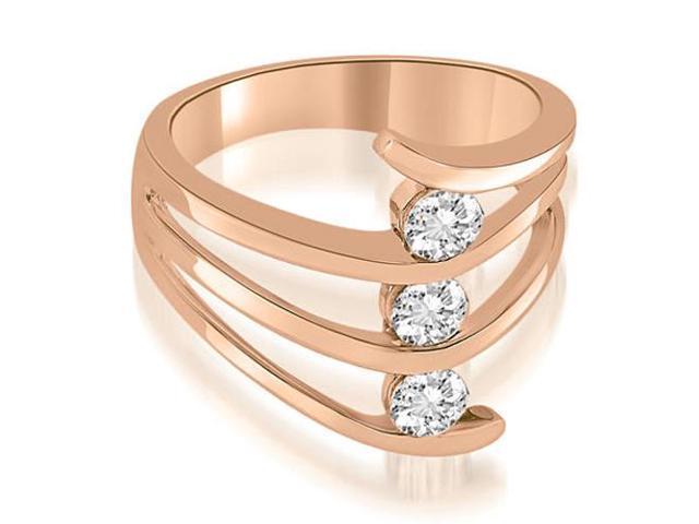 269908bc26f Three Stone Tension Split Shank Diamond Wedding Ring in 18K Rose Gold (