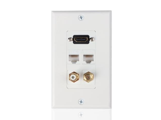 HDMI + Ethernet Network RJ45 + RCA + Coaxial F Connector Multi Combo Wall  Plate - 4K Ultra HD port, RCA Composite Video Audio Subwoofer Jack Socket  Insert Wiring Plug Outlet Cover Panel - Newegg.comNewegg