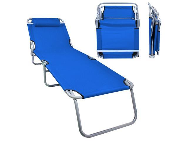 Amazing Patio Lounge Chair Sea Blue Portable Folding Chaise Bed Theyellowbook Wood Chair Design Ideas Theyellowbookinfo