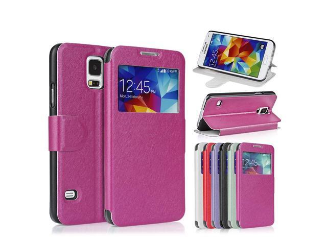 on sale 1210d b3488 Samsung Galaxy S5 Case Flip View Premium Slim Cover Folio Case with S-View  Window for Galaxy S5 / Galaxy SV / Galaxy S V Metallic Pink - Newegg.com