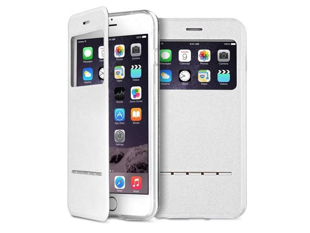 promo code 28b6b 49c24 iPhone 6s Plus Case - Smart PU Leather Window View Touch Metal Front Flip  Cover W Open Logo Back Folio Case for iPhone 6s Plus 5.5