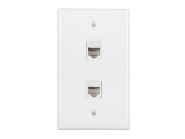 ethernet network cat5e wall plate dual 2 port rj45. Black Bedroom Furniture Sets. Home Design Ideas