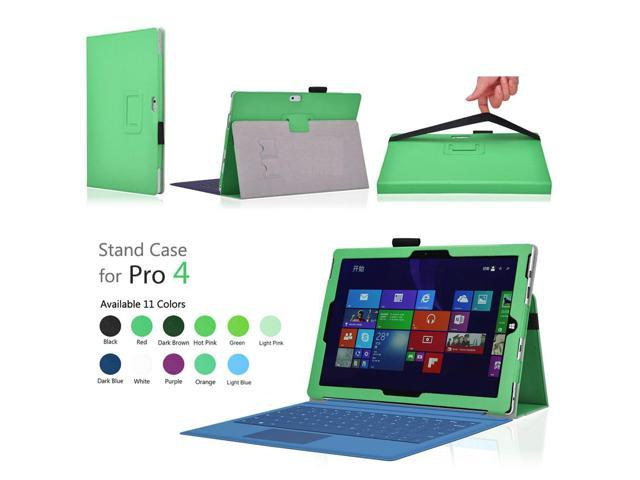 Microsoft Surface Pro 4 Case (Green) - Slim Fit Synthetic Leather Folio  Stand Smart Cover with Auto Sleep Wake Feature and Stylus Holder for  Microsoft