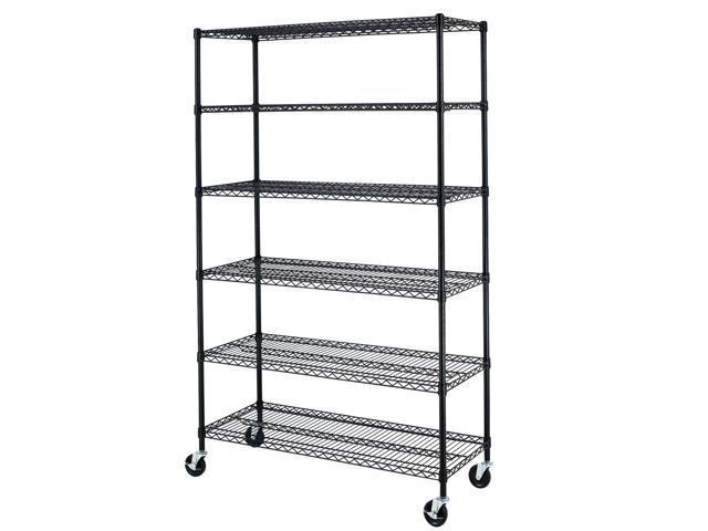 Black Commercial 6 Tier Shelf Adjustable Steel Wire Metal Shelving ...